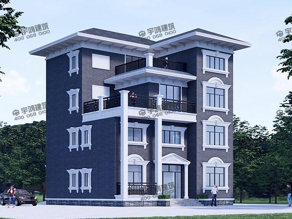 140平四层图纸农村视图别墅YH-A-4001_旋转绘制剖切楼台图片