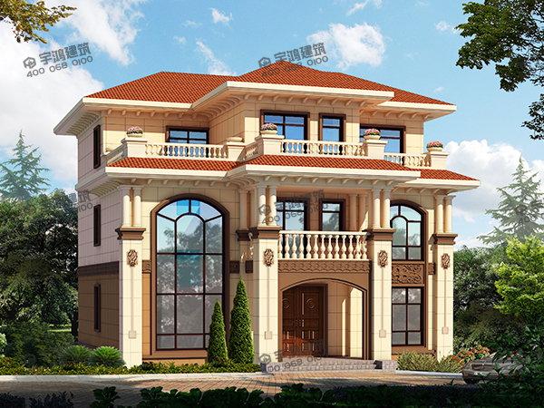149平方三层漂亮农村自建小别墅设计图yh A 3033三层别墅农村别墅房屋