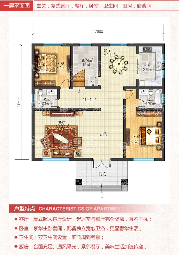 自建小别墅设计图 yh-a-3033   建筑层数:三层    户型尺寸:开间12.