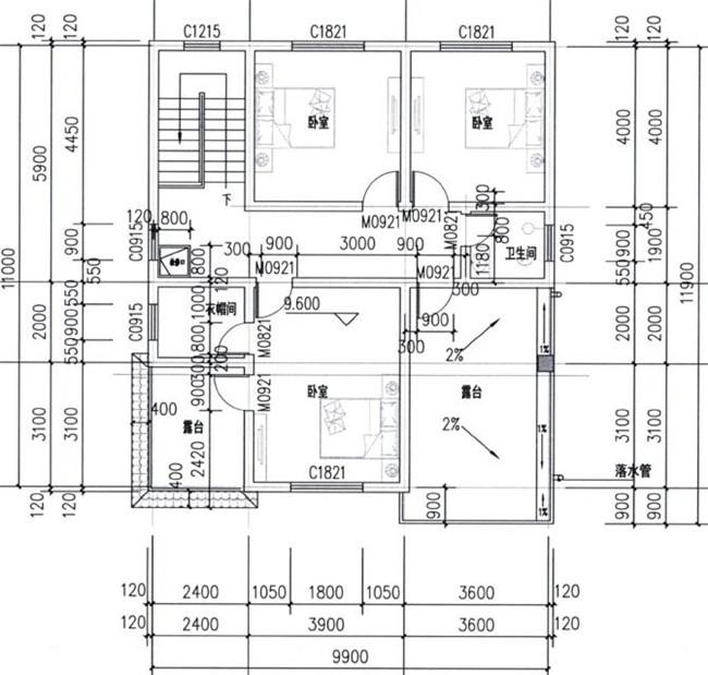 12x10米农村3层小洋楼设计图 农村三层小别墅建房图纸图片